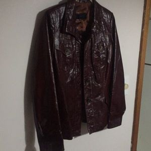 Leather ECE woman's jacket M warm brown